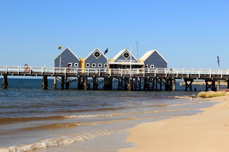 Kabiny na Busselton jetty, zachodnia australia zdjęcia stock