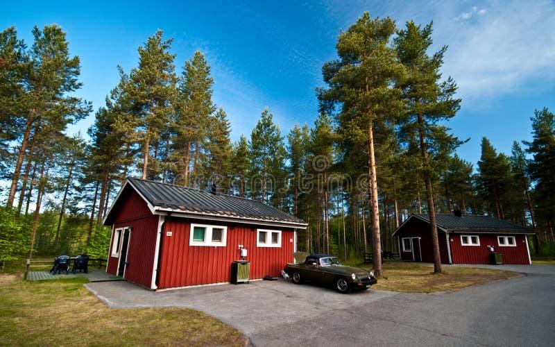 Kabiny w Szwedzkim obozowym miejscu zdjęcie stock