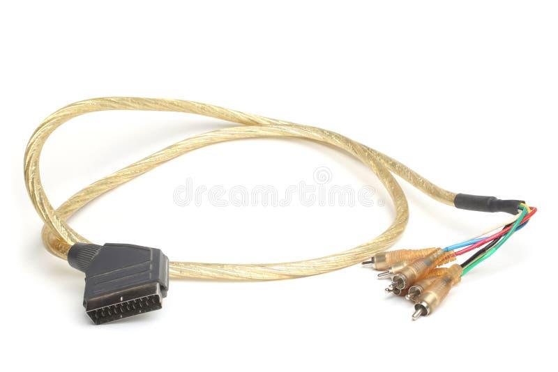 Kabla 21 szpilki SCART wtyczkowa samiec 6 RCA prymek zdjęcia stock