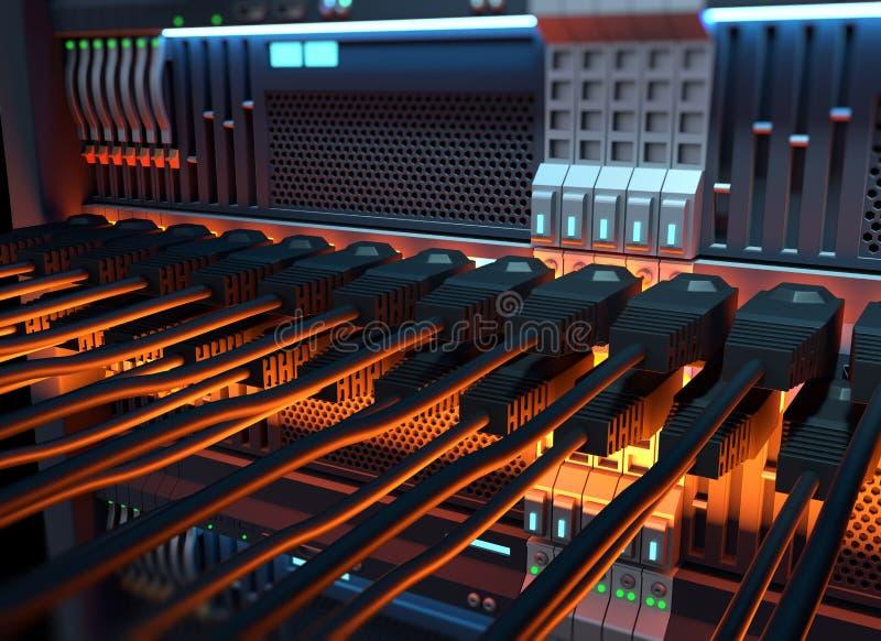 Kablar för Ethernetnätverk förband till illustraen för internetserveren 3d royaltyfri illustrationer