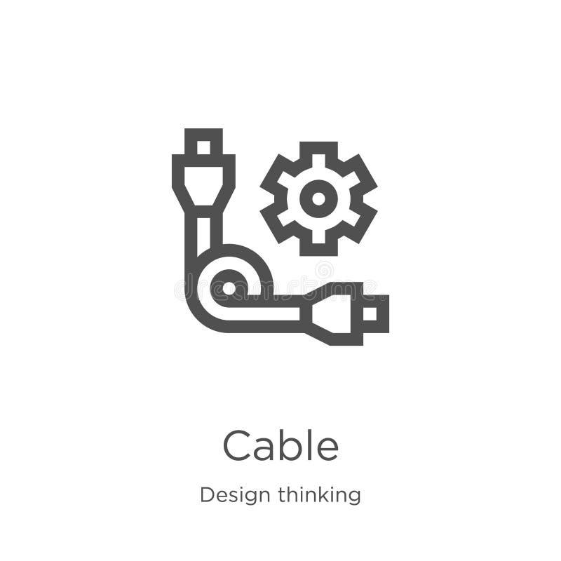 kablowy ikona wektor od projekt myślącej kolekcji Cienka linia kabla konturu ikony wektoru ilustracja Kontur, cienka linia kabla  ilustracji