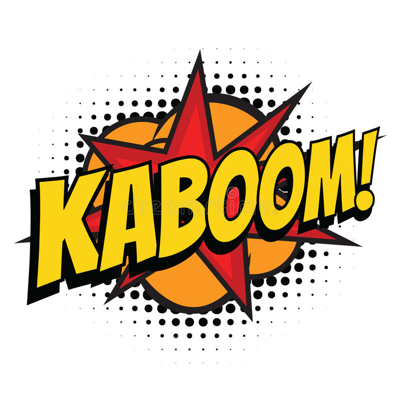 Kaboom komiskt ord stock illustrationer