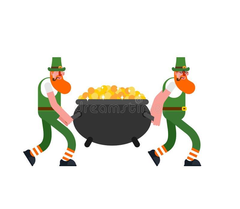 Kabouter en goud De kabouters dragen pot van gouden muntstukken D De Dag van StPatrick ` s Vakantie in Ierland royalty-vrije illustratie