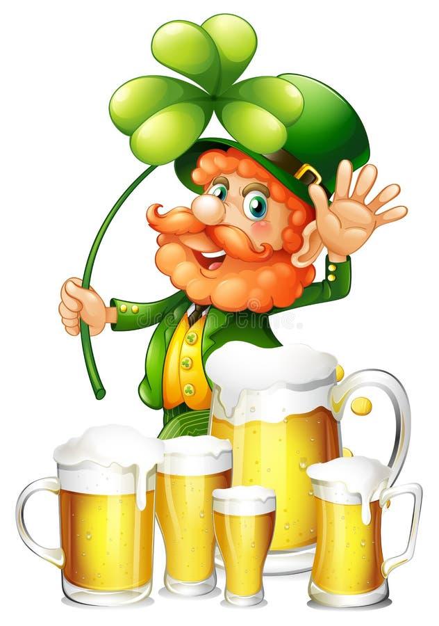Kabouter en vers bier in mokken stock illustratie