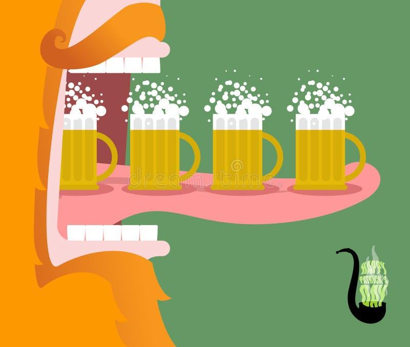 Kabouter het drinken bier Enge Gnoom roodachtige baard en mok van a royalty-vrije illustratie