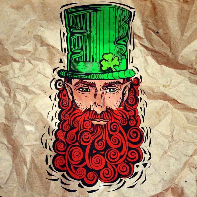 Kabouter met rode baard, portret op papier stock illustratie