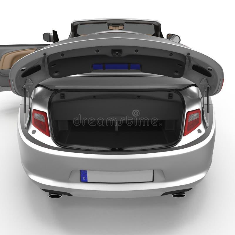 Kabriolet bawi się czystego pustego bagażnika odizolowywającego na bielu ilustracja 3 d ilustracja wektor