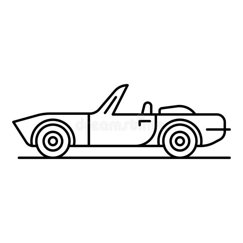 Kabriolet ikona, konturu styl ilustracji