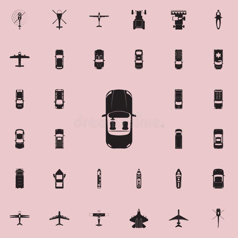 Kabriolet ikona Przewieziony widok od above ikony ogólnoludzkiego ustawiającego dla sieci i wiszącej ozdoby ilustracji