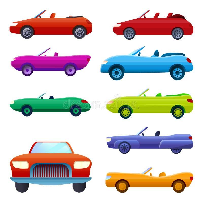 Kabriolet ikony ustawiać, kreskówka styl royalty ilustracja
