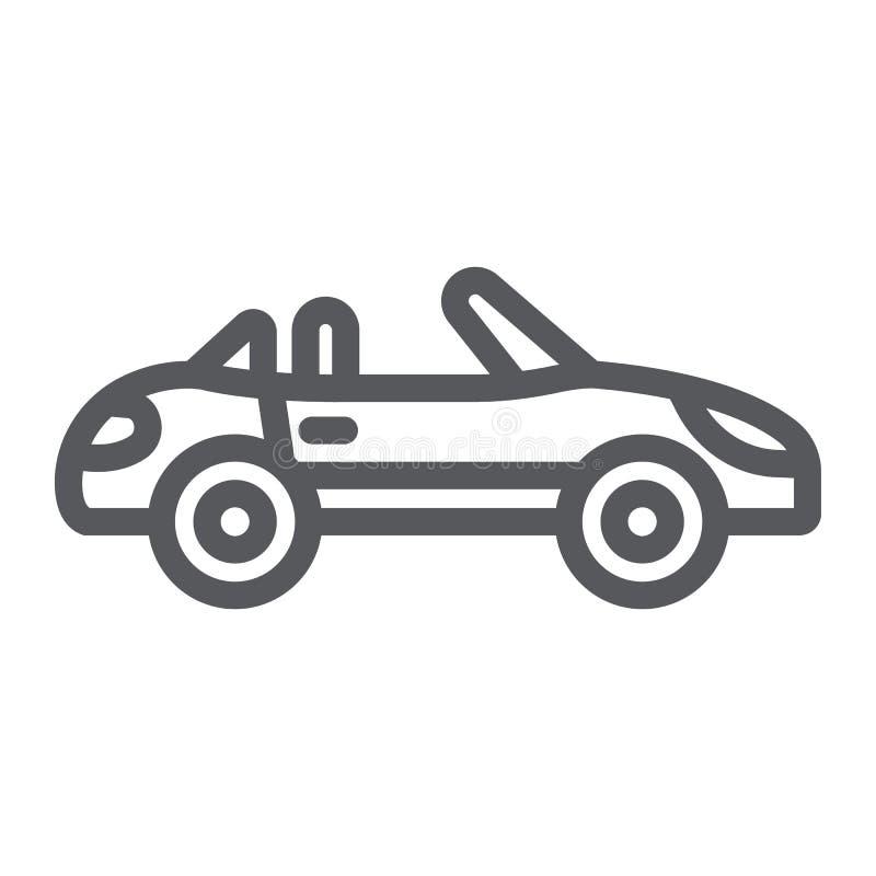 Kabriolet kreskowa ikona, transport i przejażdżka, samochodu znak, wektorowe grafika, liniowy wzór na białym tle ilustracja wektor
