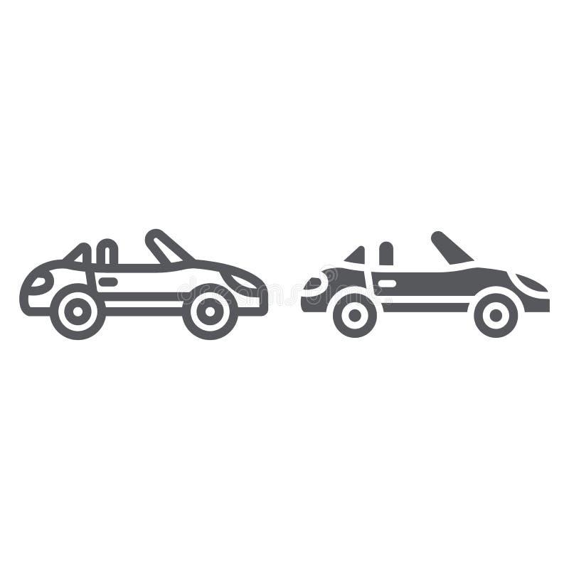 Kabriolet linia, glif ikona, transport i przejażdżka, samochodu znak, wektorowe grafika, liniowy wzór na bielu royalty ilustracja
