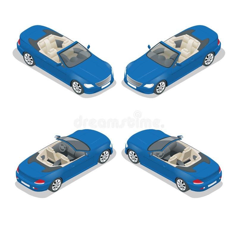 Kabriolet samochodowa isometric wektorowa ilustracja Płaski 3d kabrioletu wizerunek ilustracja wektor