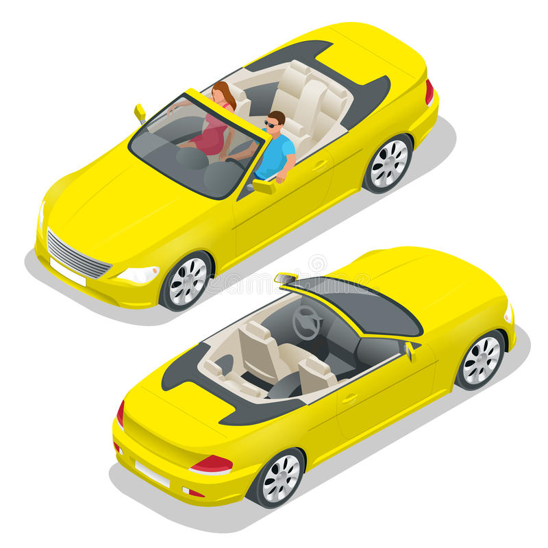 Kabriolet samochodowa isometric wektorowa ilustracja Płaski 3d kabrioletu wizerunek Transport dla lato podróży Sporta samochodu p ilustracji