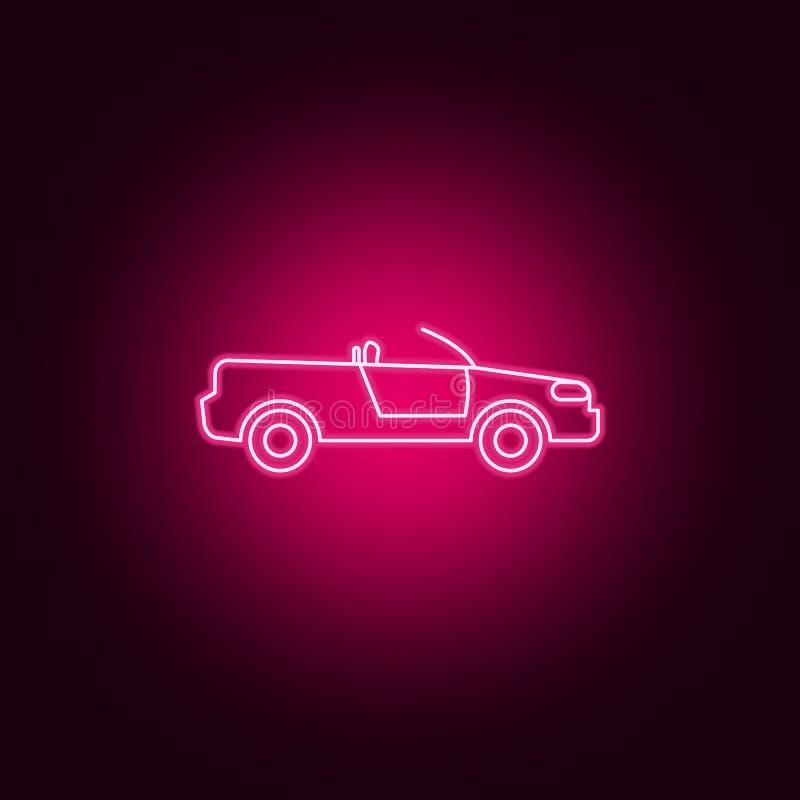 kabriolet samochodowa neonowa ikona Elementy transportu set Prosta ikona dla stron internetowych, sie? projekt, mobilny app, ewid ilustracja wektor