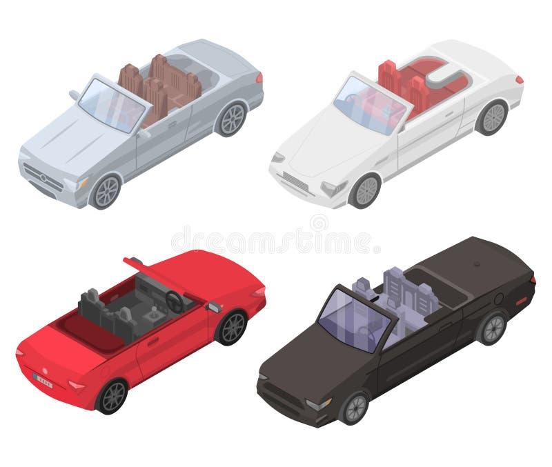Kabriolet samochodowe ikony ustawiać, isometric styl ilustracji