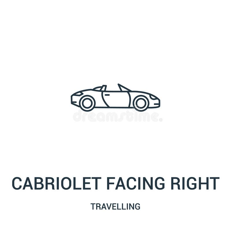 kabriolet stawia czoło prawego ikona wektor od podróżnej kolekcji Cienki kreskowy kabriolet stawia czoło dobrze kontur ikony wekt ilustracji