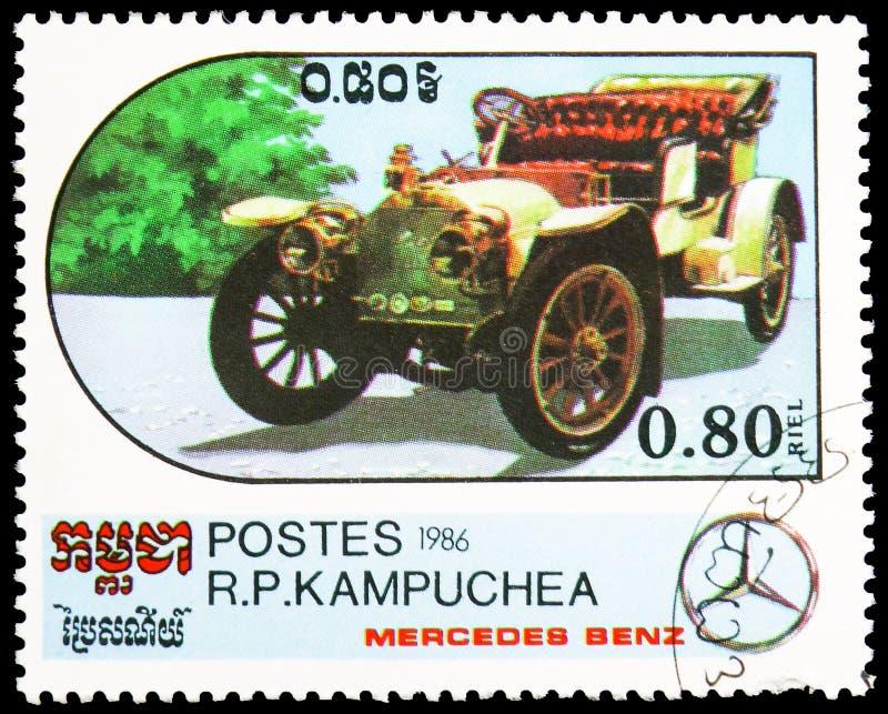 Kabriolett - 1907, Jahrhundert des Bewegungsmotor- Mercedes Benz Models-serie, circa 1986 stockfotografie