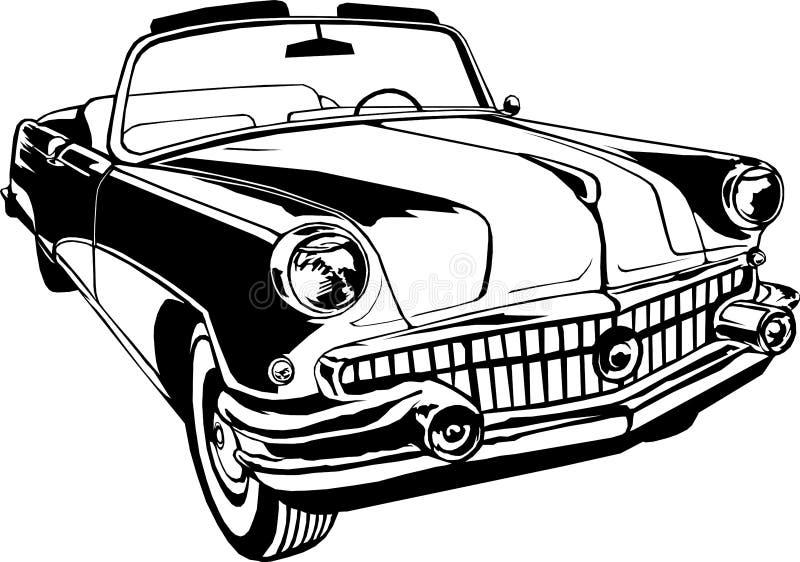 Kabrioletu 1950-60s retro rocznika monograma wektorowa ręka rysuje czerń ilustracji