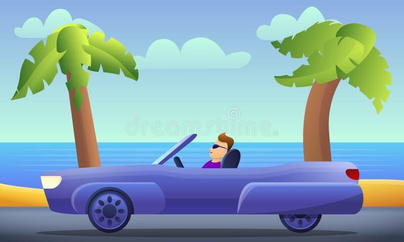 Kabrioletu samochodowego jeżdżenia pojęcia tło, kreskówka styl ilustracja wektor