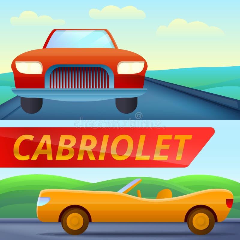 Kabrioletu sztandaru samochodowy set, kreskówka styl royalty ilustracja