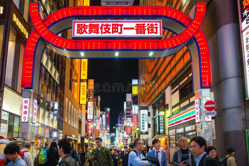 Kabukicho Shinjuku Tokyo Japan ,preparing for Japan 2020 olympic. Shinjuku Tokyo, Japan - October 23 , 2018 : Godzilla junction Famous place in Shinjuku Tokyo stock image