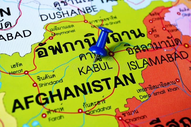 Kabul Afghanistan map. Macro shot of kabul Afghanistan map with push pin stock image