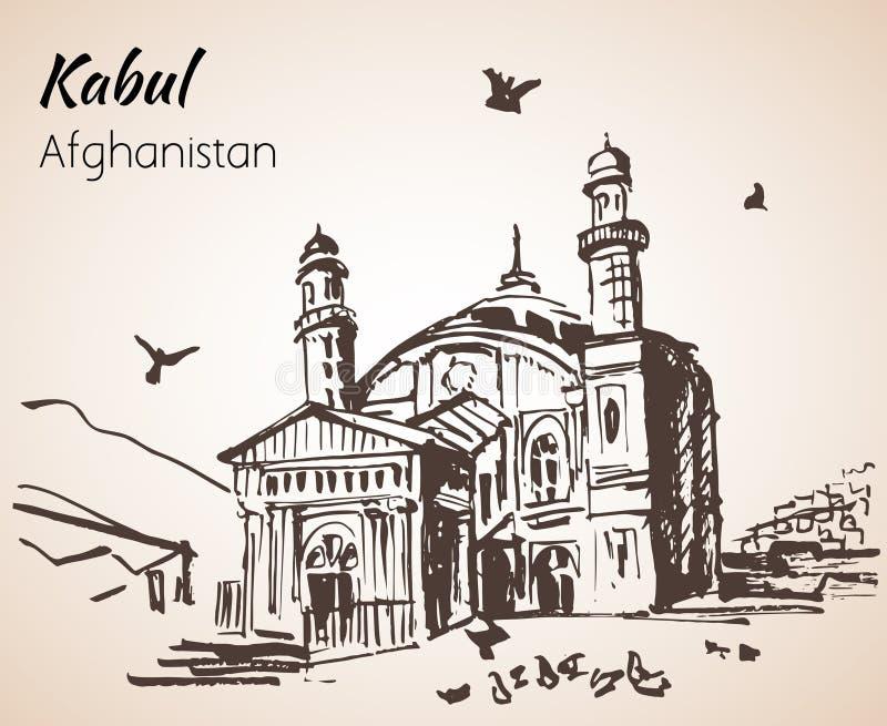 Kabul, capitale di Afganistan Moschea di Shamshira di Doh dello scià-e Sketc illustrazione di stock
