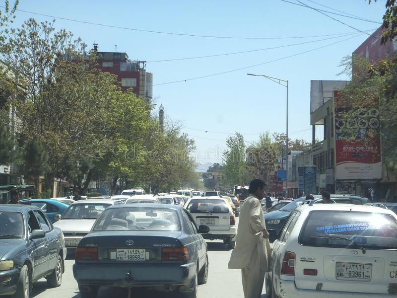Kabul City is always high traffic jam on the road, Afghanistan. Traffic jam is normally happen in the city and Kabul has the issue for acute jam and increase royalty free stock photo