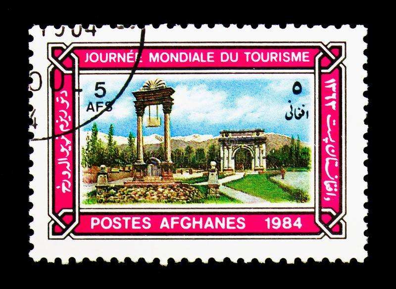 Kabul monuments, World Tourism Day serie, circa 1984. MOSCOW, RUSSIA - DECEMBER 21, 2017: A stamp printed in Afghanistan shows Kabul monuments, World Tourism Day stock photo