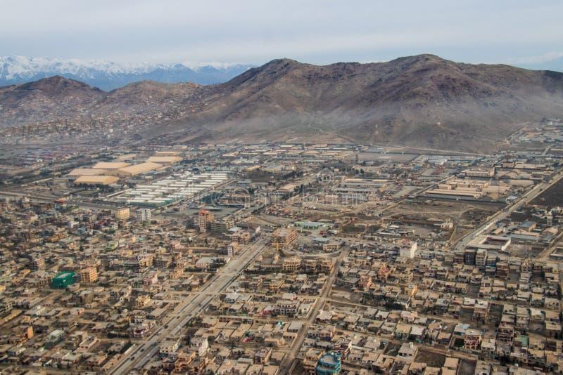 Kabulski miasto, Afganistan od powietrza w lecie 2018 zdjęcia stock
