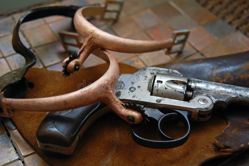 kabury antique pistolet ostrogi obrazy stock