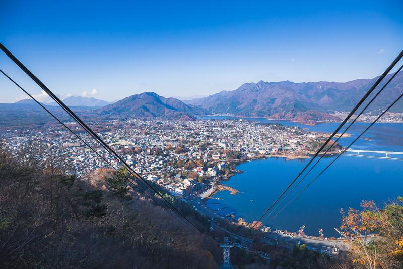 Kachi Kachi Ropeway. The Kachi Kachi Ropeway ascends 400 meters from the eastern shore of Lake Kawaguchiko to an observation deck near the peak of Mount Tenjo royalty free stock photography