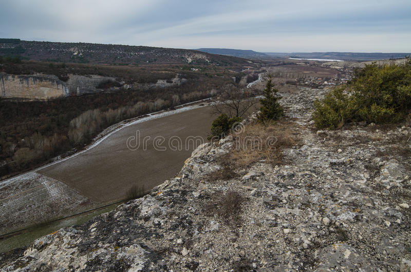 Kachi-Kalion in Crimea. Sheer cliffs and mountains covered with forest in Kachi-Kalion, Crimea royalty free stock photo