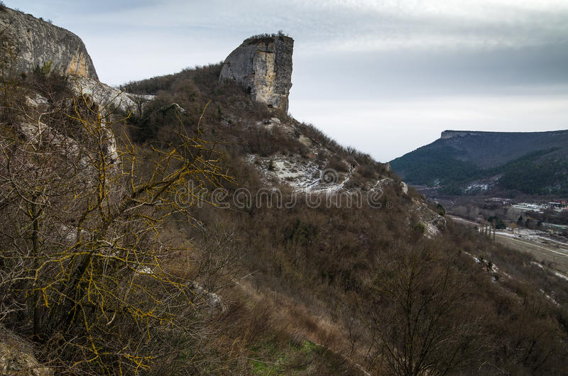 Kachi-Kalion in Crimea. Sheer cliffs and mountains covered with forest in Kachi-Kalion, Crimea stock photography