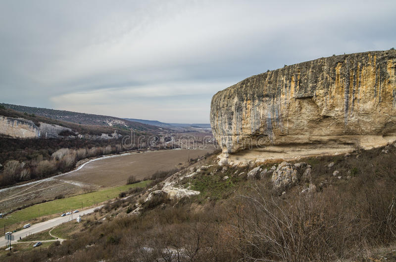 Kachi-Kalion in Crimea. Sheer cliffs and mountains covered with forest in Kachi-Kalion, Crimea royalty free stock images