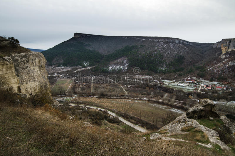 Kachi-Kalion in Crimea. Sheer cliffs and mountains covered with forest in Kachi-Kalion, Crimea royalty free stock image