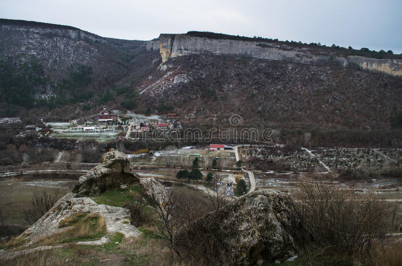 Kachi-Kalion in Crimea. Sheer cliffs and mountains covered with forest in Kachi-Kalion, Crimea stock images