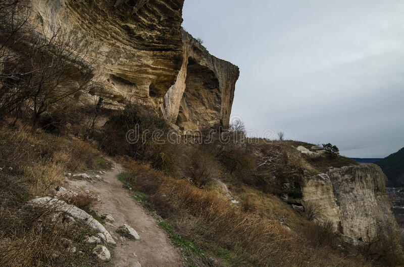 Kachi-Kalion in Crimea. Sheer cliffs and mountains covered with forest in Kachi-Kalion, Crimea stock image