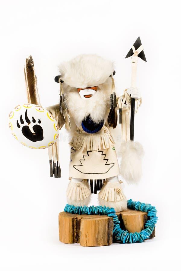 Kachina - Buffalo Warrior. A Buffalo Warrior Kachina doll on white background. The Buffalo Warrior is second to the most powerful warrior amongst the Kachinas royalty free stock photography