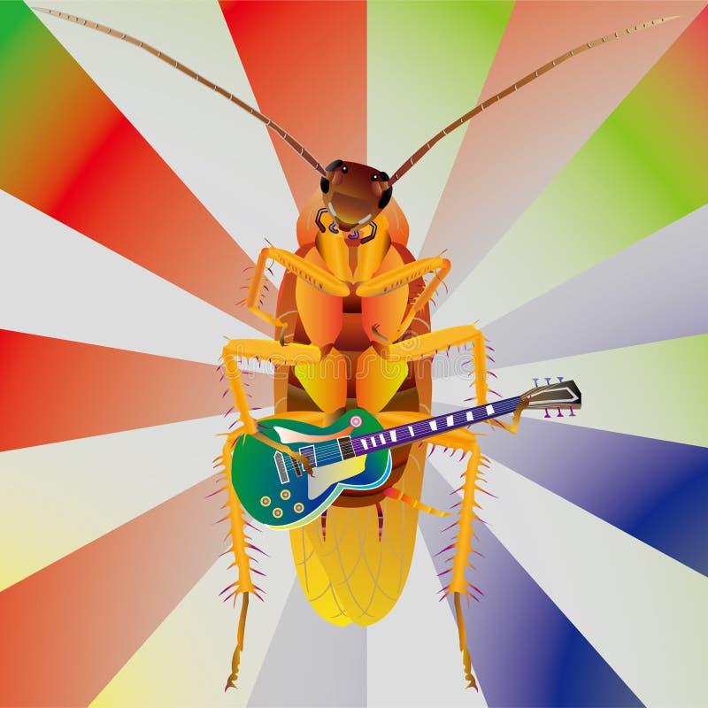 kackerlackagitarrspelrum royaltyfri illustrationer