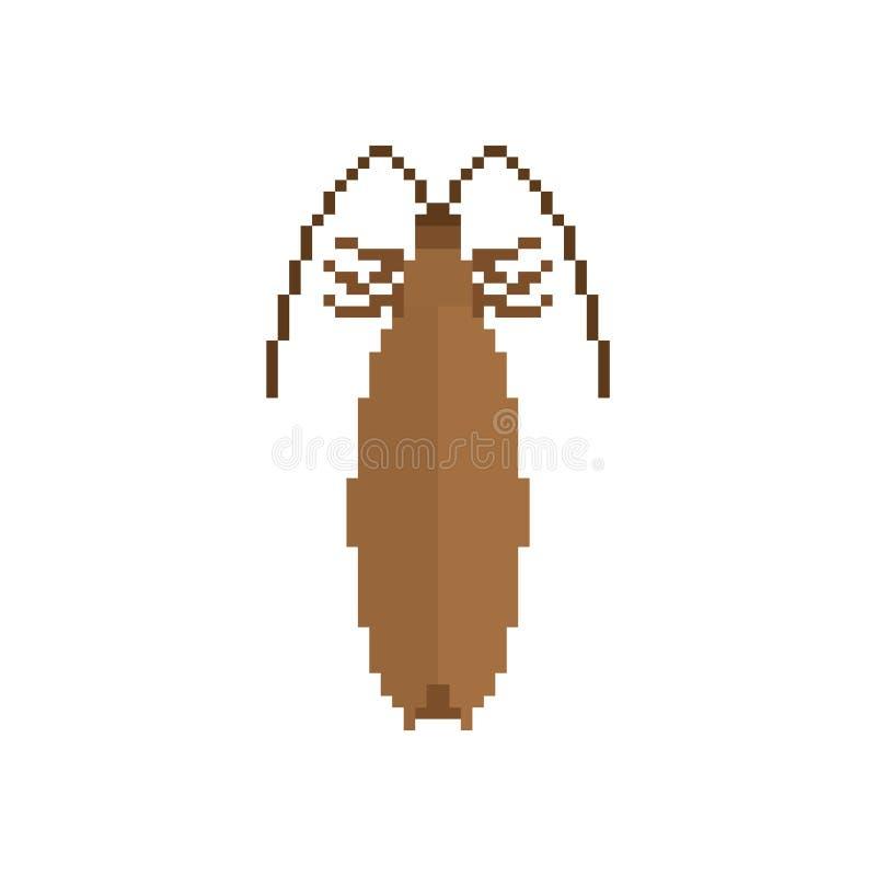 KackerlackaPIXELkonst Bit för kryp 8 Utskjutande digitalt Felvektor il royaltyfri illustrationer