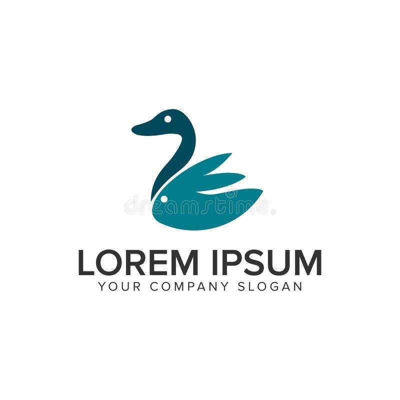 Kaczka królika logo projekta pojęcia minimalistyczny szablon fully ilustracji