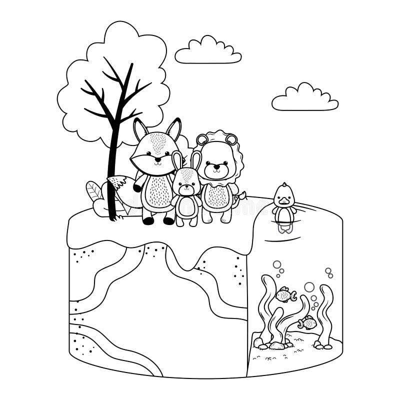 Kaczka lisa lwa i królika projekt ilustracja wektor