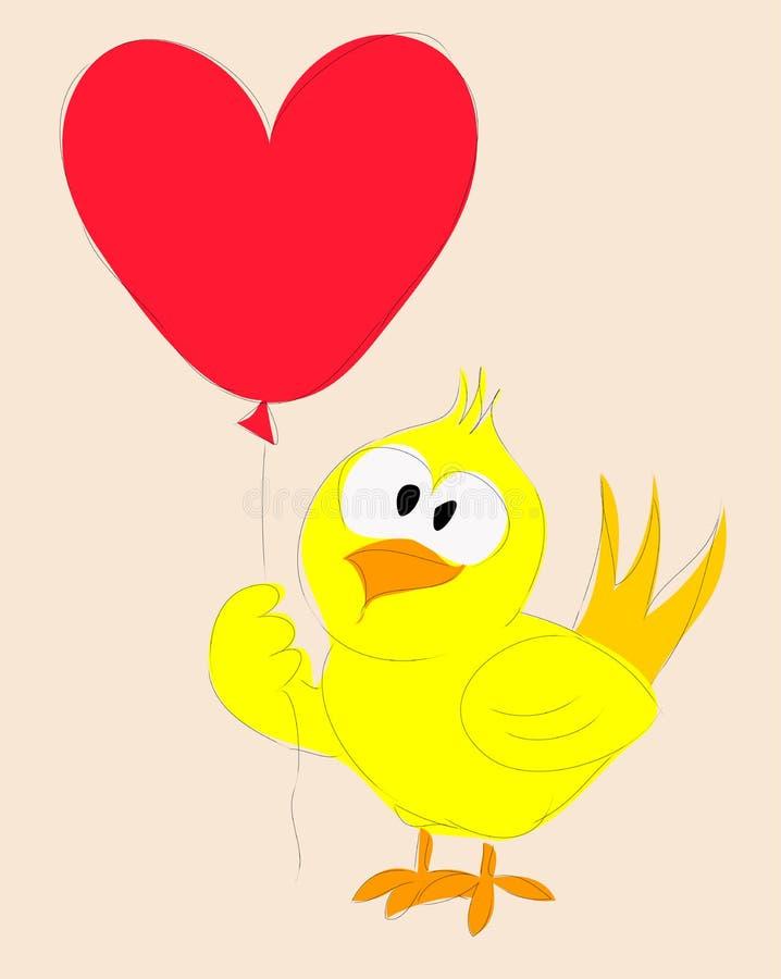 Kaczka trzyma sercowatych balony ilustracja wektor