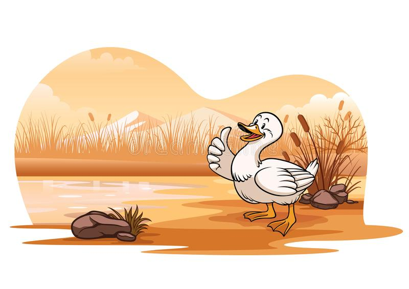 Kaczka w jeziorze z kreskówka stylem ilustracja wektor