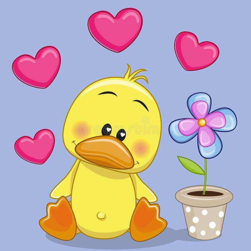 Kaczka z sercem i kwiatem royalty ilustracja