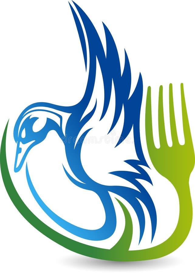 Kaczki jedzenia logo ilustracji