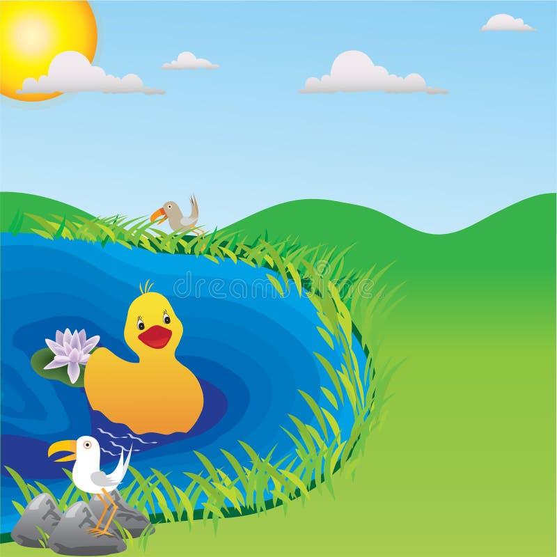 kaczki jezioro ilustracja wektor