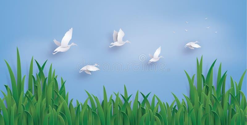 Kaczki latają w niebo royalty ilustracja